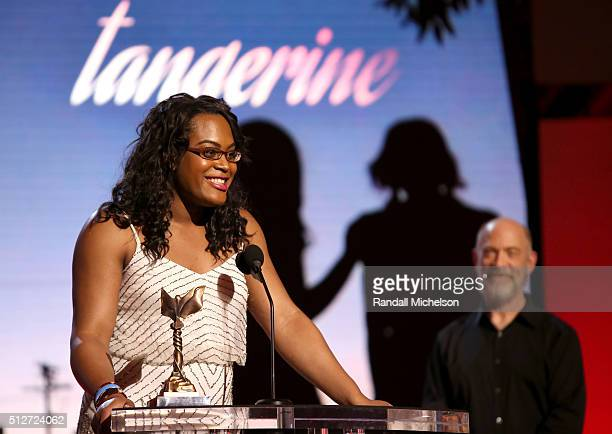 Actress Mya Taylor accepts the Best Supporting Female Award for 'Tangerine' during the 2016 Film Independent Spirit Awards on February 27 2016 in...