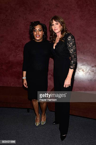 Actress Mya Taylor and Caitlyn Jenner attend a special screening of 'Tangerine' at Landmark Nuart Theatre on January 4 2016 in Los Angeles California
