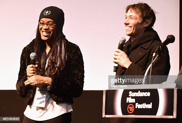 Actress Mya Taylor and director Sean Baker speak at the Tangerine screening Q A during the 2015 Sundance Film Festival on January 29 2015 in Park...