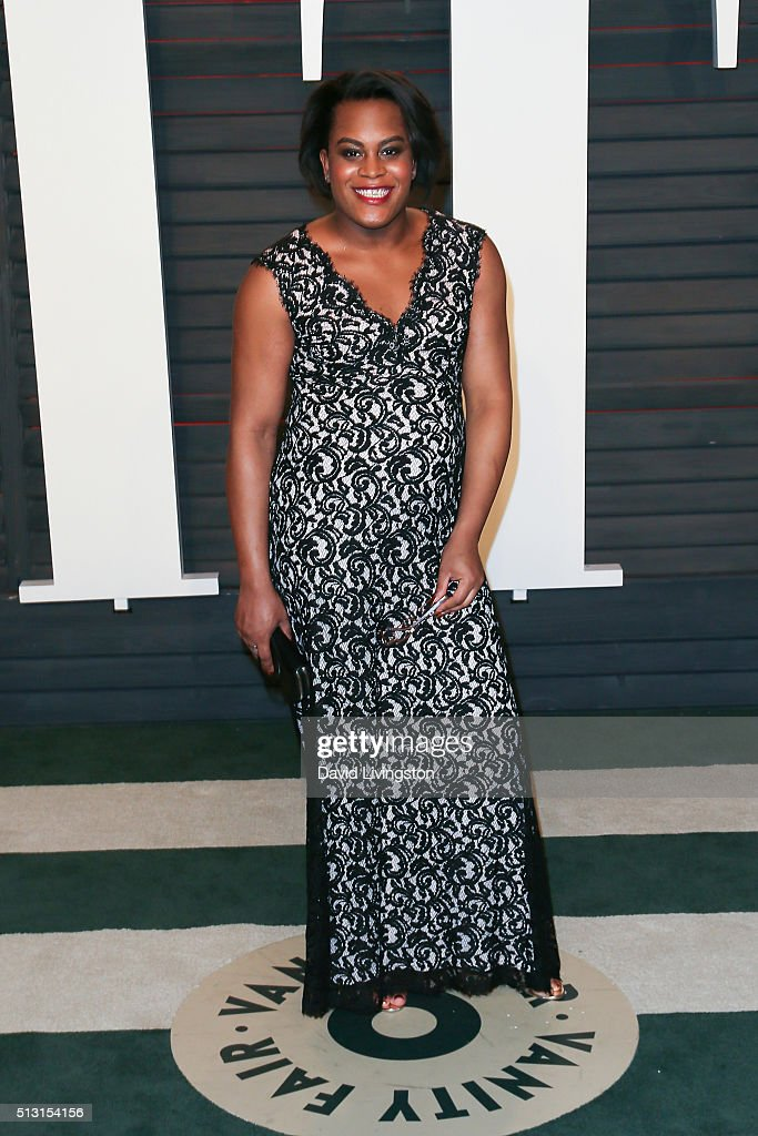 Actress Mya Taylor arrives at the 2016 Vanity Fair Oscar Party Hosted by Graydon Carter at the Wallis Annenberg Center for the Performing Arts on February 28, 2016 in Beverly Hills, California.