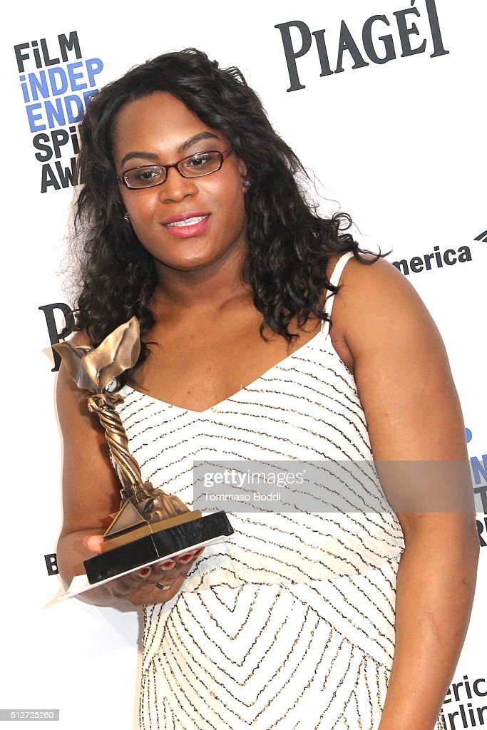 Actress Mya Taylor, winner of The Best Supporting Female award for' Tangerine', poses in the press room during the 2016 Film Independent Spirit Awards on February 27, 2016 in Santa Monica, California.