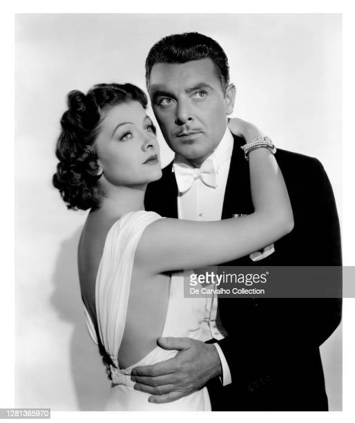 Actress Myrna Loy and Actor George Brent in a publicity shot from the movie 'The Rains Came' United States.