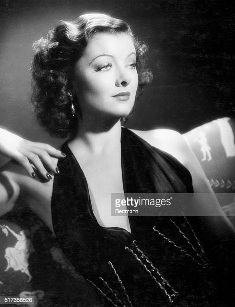 Actress Myrna Loy in a publicity photograph for her film Lucky Night 1939
