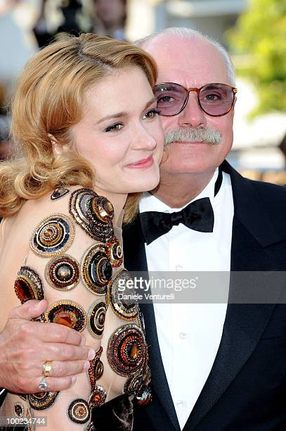 Actress Nadezhda Mihalkova and director Nikita Mikhalkov attend The Exodus Burnt By The Sun 2 Premiere held at the Palais des Festivals during the...