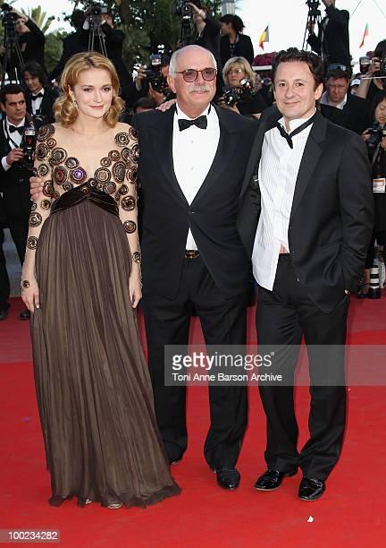 Actress Nadezhda Mihalkova director Nikita Mikhalkov and actor Oleg Menshikov attend the 'The Exodus Burnt By The Sun 2' Premiere held at the Palais...
