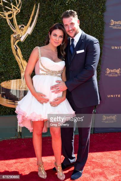 Actress Nadia Bjorlin and husband Grant Turnbull arrive at the 44th Annual Daytime Emmy Awards at Pasadena Civic Auditorium on April 30 2017 in...