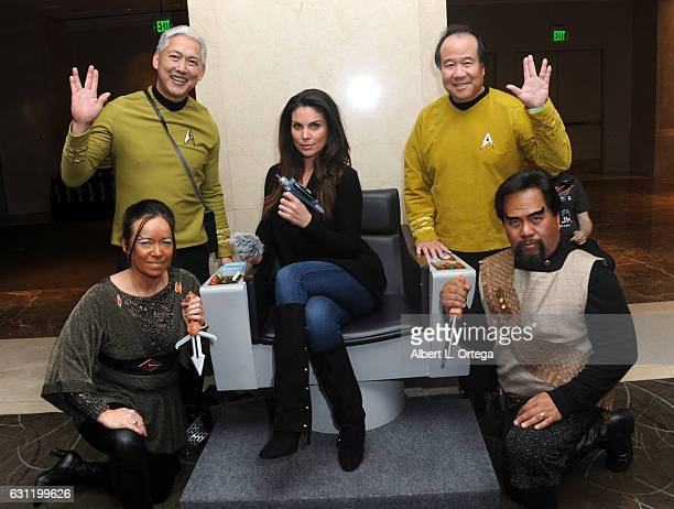 Actress Nadia Bjorlin with Star Trek cosplayers Michelle Wells Mark Lum David Cheng and Bill Arucan attend The Hollywood Show held at The Westin Los...