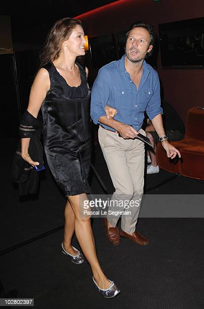Actress Nadia Fares and Olivier Bialobos attend the Paris Premiere for the film 'Inception' at Gaumont Champs Elysees on July 10 2010 in Paris France