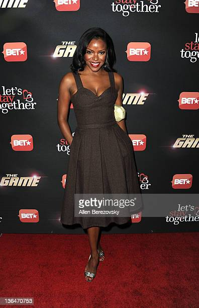 Actress Nadine Ellis arrives at the BET's The Game And Let's Stay Together series premiere at Hollywood Roosevelt Hotel on January 5 2012 in...