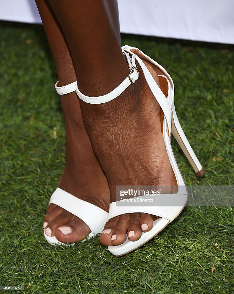 Actress Nadine Ellis, shoe detail,d arrives at the Kids In The Spotlight's Movies By Kids, For Kids Film Awards at Fox Studios on November 7, 2015 in Los Angeles, California.