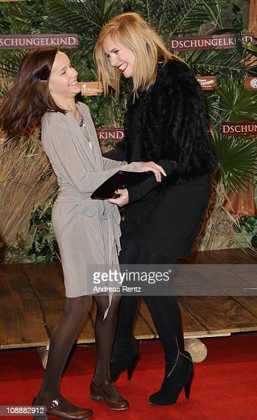 Actress Nadja Uhl and young actress Stella Kunkat attend the 'Dschungelkind' Premiere at CineStar on February 7 2011 in Berlin Germany