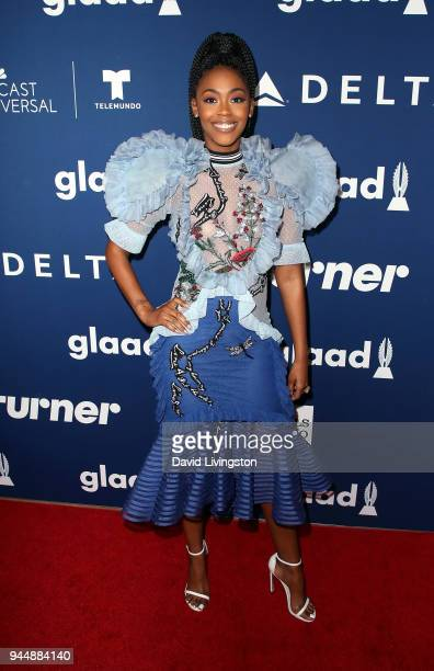 Actress Nafessa Williams attends GLAAD's 2018 Rising Stars luncheon at The Beverly Hilton Hotel on April 11 2018 in Beverly Hills California