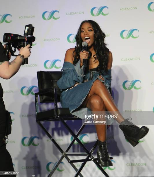 Actress Nafessa Williams speaks at the Black Lightning panel during the ClexaCon 2018 convention at the Tropicana Las Vegas on April 7 2018 in Las...