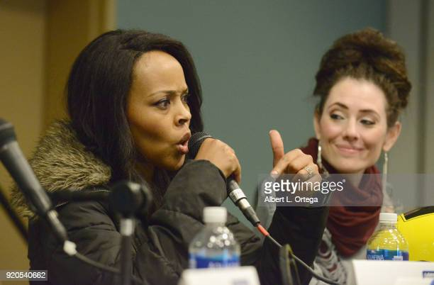 Actress Nakia Burrise and actress Adrienne Wilkinson attend day 2 of the 8th Annual Long Beach Comic Expo held at Long Beach Convention Center on...
