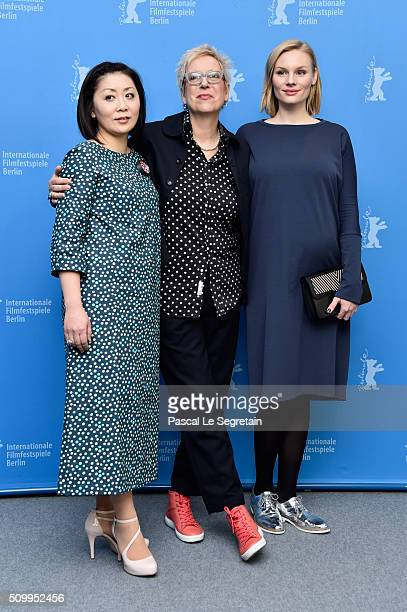 Actress Nami Kamata director Doris Doerrie and actress Rosalie Thomass attend the 'Gruesse aus Fukushima' photo call during the 66th Berlinale...
