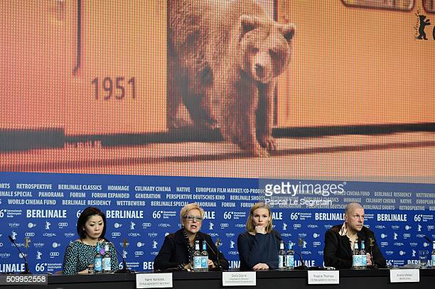 Actress Nami Kamata director Doris Doerrie and actress Rosalie Thomass attend the 'Gruesse aus Fukushima' press conference during the 66th Berlinale...