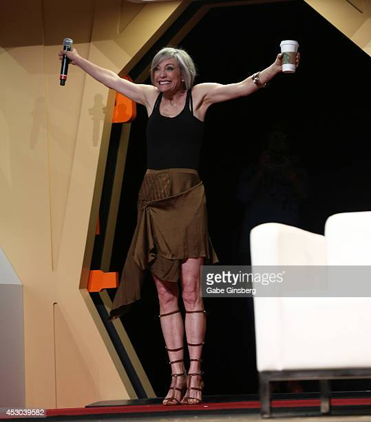 Actress Nana Visitor arrives on stage for the Star Trek Deep Space Nine panel at the 13th annual Star Trek convention at the Rio Hotel Casino on...