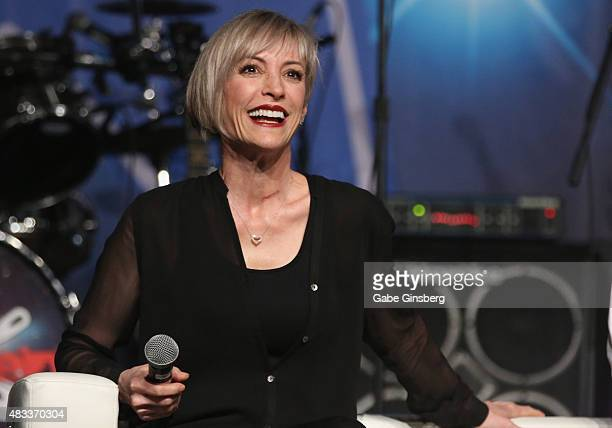 Actress Nana Visitor speaks during the Star Trek Deep Space Nine Favorites panel at the 14th annual official Star Trek convention at the Rio Hotel...
