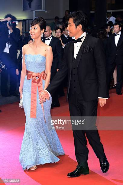 Actress Nanako Matsushima and director Takao Osawa attend the 'Wara No Tate' Premiere during the 66th Annual Cannes Film Festival at the Palais des...