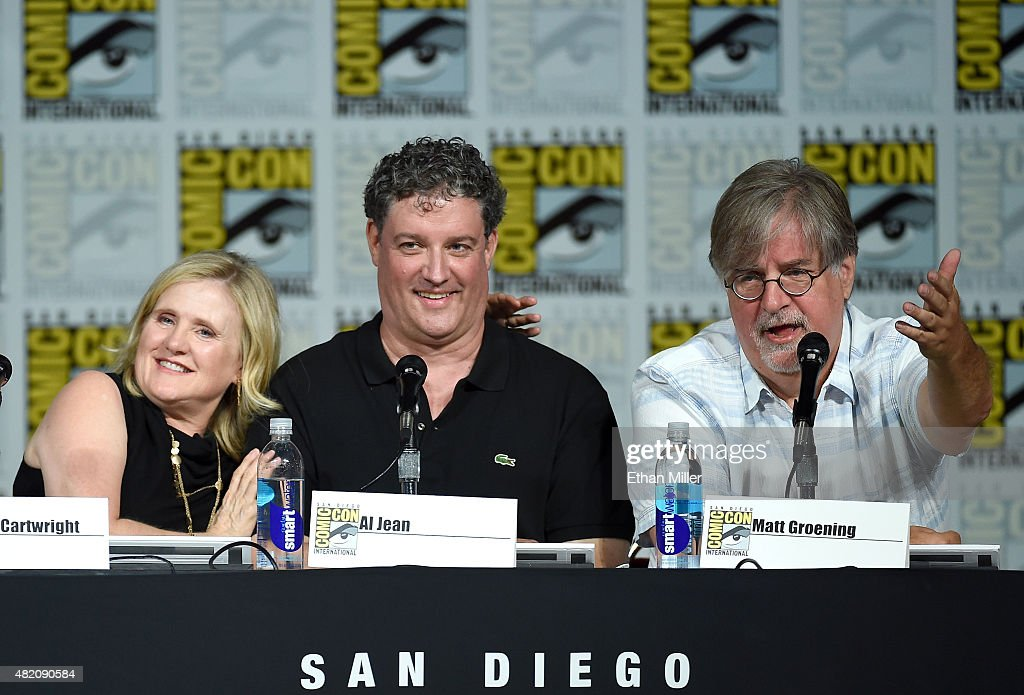 Actress Nancy Cartwright and producer/writers Al Jean and Matt Groening attend 'The Simpsons' panel during Comic-Con International 2015 at the San Diego Convention Center on July 11, 2015 in San Diego, California.