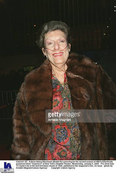 Actress Nancy Marchand attends the screening for the second season of HBO's critically acclaimed show Soprano's at New York's Ziegfeld Theater...