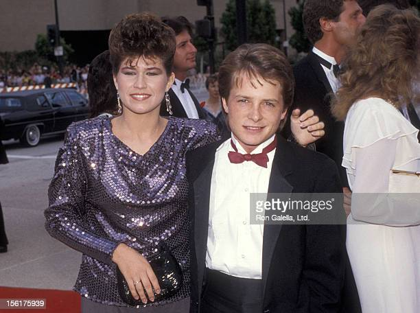 Actress Nancy McKeon and actor Michael J. Fox attend the 36th Annual Primetime Emmy Awards on September 23, 1984 at Pasadena Civic Auditorium in...