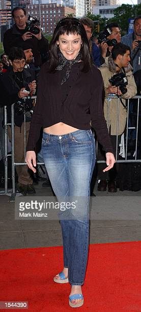 """Actress Nancy Pimental arrives for the world premiere of """"Enough"""" May 21, 2002 at Loews Lincoln Square Theatre in New York City."""