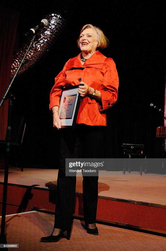 Actress Nancye Hayes accepts the Lifetime achievement award at the 2008 Sydney Theatre Awards at the Paddington RSL on January 19, 2009 in Sydney, Australia.