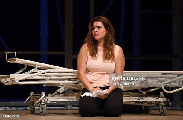 Actress Nanda Mohammad performs during a dress rehearsal for 'While I was Waiting' as part of Lincoln Center Festival at Gerald W Lynch Theater at...