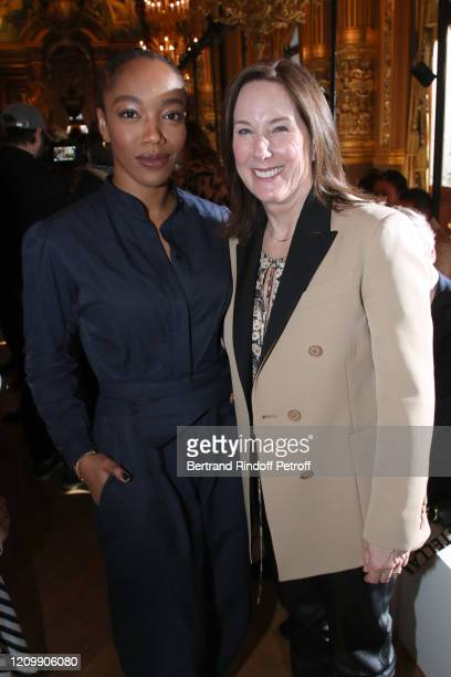 Actress Naomi Ackie and CEO of Lucasfilm Kathleen Kennedy attend the Stella McCartney show as part of the Paris Fashion Week Womenswear Fall/Winter...