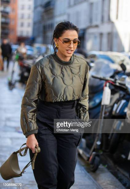 Actress Naomi Scott is seen outside Kenzo during Paris Fashion Week - Womenswear Fall/Winter 2020/2021 : Day Three on February 26, 2020 in Paris,...