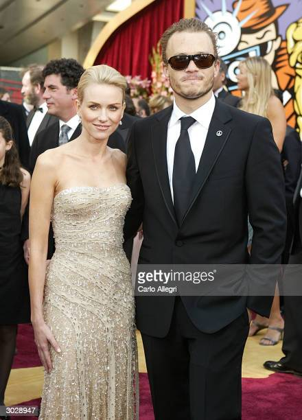 Actress Naomi Watts and Actor Heath Ledger attend the 76th Annual Academy Awards at the Kodak Theater on February 29, 2004 in Hollywood, California.