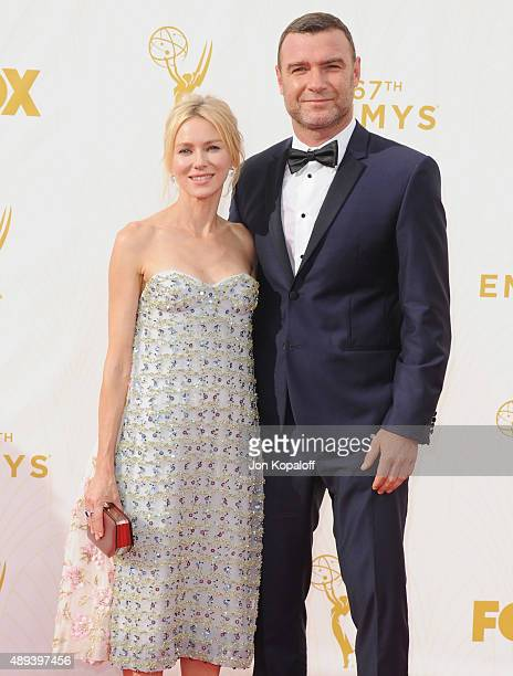 Actress Naomi Watts and actor Liev Schreiber arrive at the 67th Annual Primetime Emmy Awards at Microsoft Theater on September 20 2015 in Los Angeles...