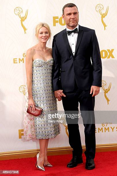 Actress Naomi Watts and actor Liev Schreiber arrive at the 67th Annual Primetime Emmy Awards at the Microsoft Theater on September 20 2015 in Los...