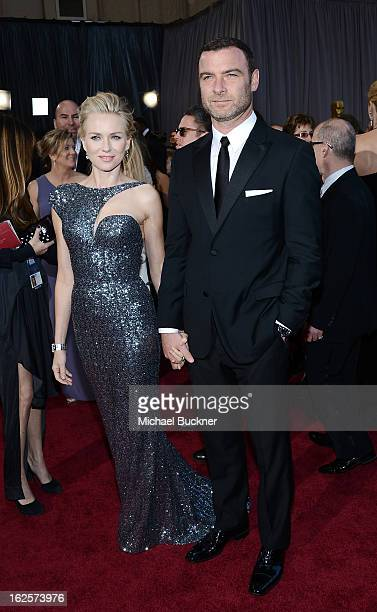 Actress Naomi Watts and actor Liev Schreiber arrive at the Oscars at Hollywood Highland Center on February 24 2013 in Hollywood California
