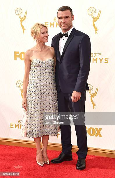 Actress Naomi Watts and actor Liev Schreiber attend the 67th Annual Primetime Emmy Awards at Microsoft Theater on September 20 2015 in Los Angeles...