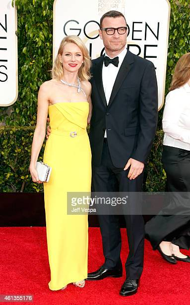 Actress Naomi Watts and actor Liev Schreiber attend the 72nd Annual Golden Globe Awards at The Beverly Hilton Hotel on January 11 2015 in Beverly...