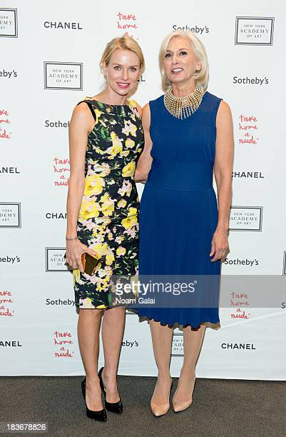 Actress Naomi Watts and Eileen Guggenheim attend 2013 'Take Home A Nude' Benefit Art Auction And Party at Sotheby's on October 8 2013 in New York City