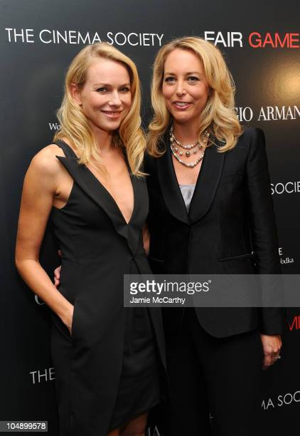 Actress Naomi Watts and former CIA officer Valerie Plame Wilson attend the Giorgio Armani The Cinema Society screening of Fair Game at The Museum of...