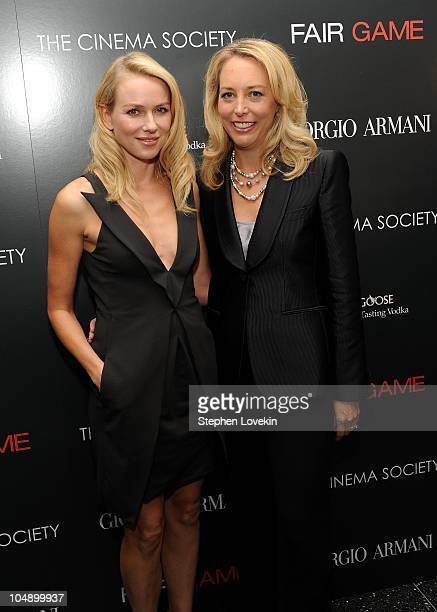 Actress Naomi Watts and former CIA officer Valerie Plame Wilson attend the screening of Fair Game hosted by Giorgio Armani The Cinema Society at The...