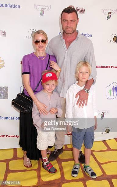 Actress Naomi Watts and her husband, actor Liev Schreiber with their sons Samuel Kai Schreiber and Alexander Pete Schreiber attend Djanai's Angels...