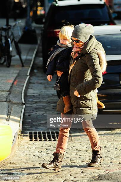 Actress Naomi Watts and her son Samuel Kai Schreiber hail a taxi in Greenwich Village on January 3 2012 in New York City