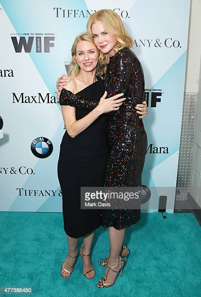 Actress Naomi Watts and honoree Nicole Kidman recipient of The Crystal Award for Excellence in Film pose backstage at the Women In Film 2015 Crystal...
