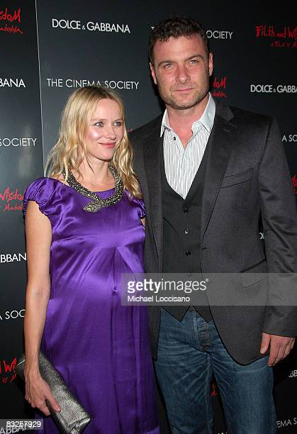 Actress Naomi Watts and husband actor Liev Schreiber attend a screening of Filth and Wisdom hosted by The Cinema Society and Dolce and Gabbana at the...
