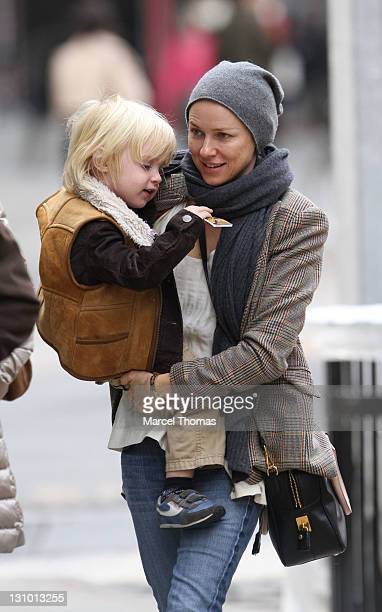 Actress Naomi Watts and son Samuel Kai Schreiber are seen on the streets of Manhattan on October 31 2011 in New York City