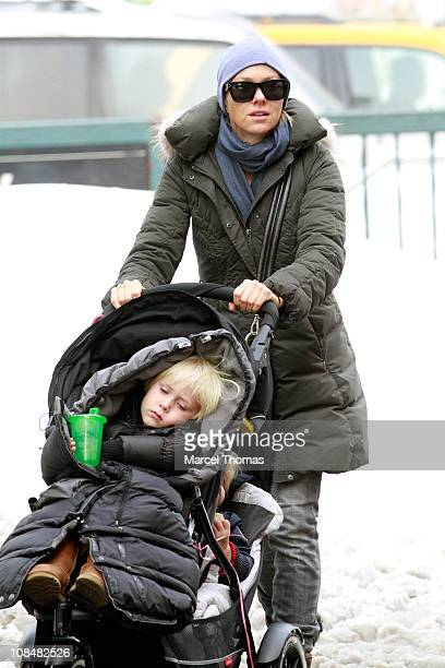 Actress Naomi Watts and sons Alexander Pete Schreiber and Samuel Kai Schreiber are seen on the streets of Manhattan on January 28 2011 in New York...