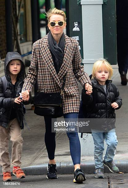 Actress Naomi Watts and sons Alexander Schreiber and Samuel Schreiber are seen in Soho on October 31 2013 in New York City