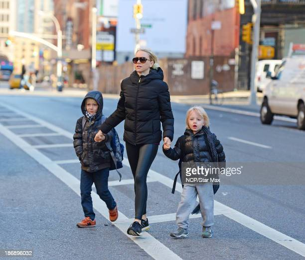 Actress Naomi Watts and sons Alexander Schreiber and Samuel Schreiber are seen on November 4, 2013 in New York City.