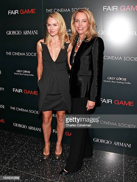 Actress Naomi Watts and Valerie Plame Wilson former CIA Operations Officer attend Giorgio Armani The Cinema Society's screening of Fair Game at The...