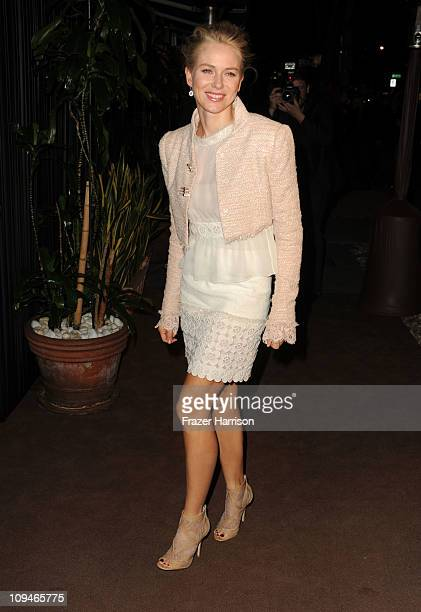Actress Naomi Watts arrives at the Chanel and Charles Finch PreOscar Dinner at Madeo Restaurant on February 26 2011 in Los Angeles California